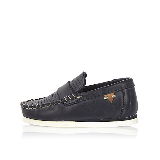 Mini boys navy leather loafers