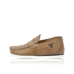 Mini boys light brown leather loafers