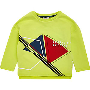 Mini boys lime awesome print sweatshirt