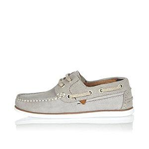 Boys grey suede boat shoes