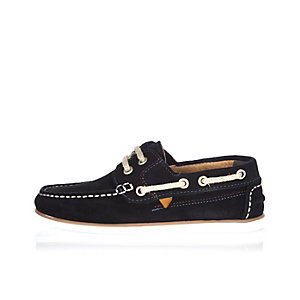 Boys navy suede boat shoes