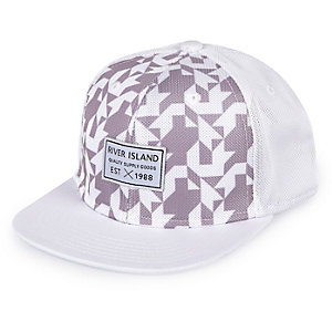 Boys white geometric print cap
