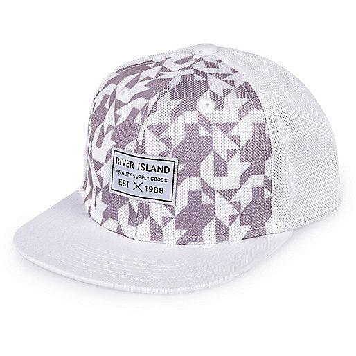 Boys white geometric print cap