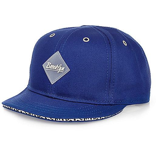 Boys blue Brooklyn leopard trim cap