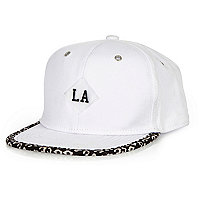 Boys white LA leopard trim cap