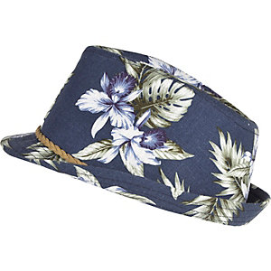 Boys navy palm tree print trilby hat