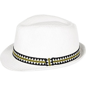 Mini boys white straw trilby hat