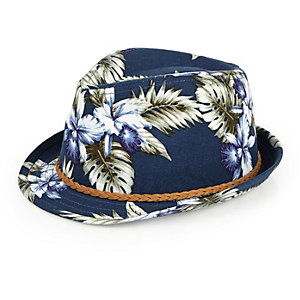 Mini boys navy floral print straw hat
