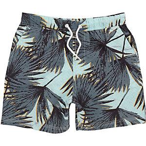 Aqua leaf print swim shorts