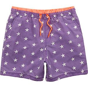 Boys purple star print swim shorts