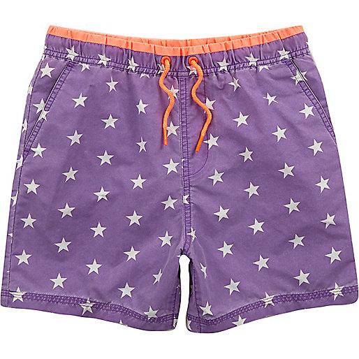 Boys purple star print swim trunks