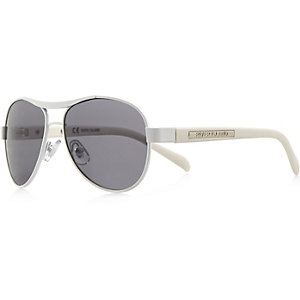 Boys white aviator-style sunglasses