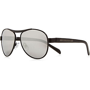 Boys black gunmetal aviator-style sunglasses