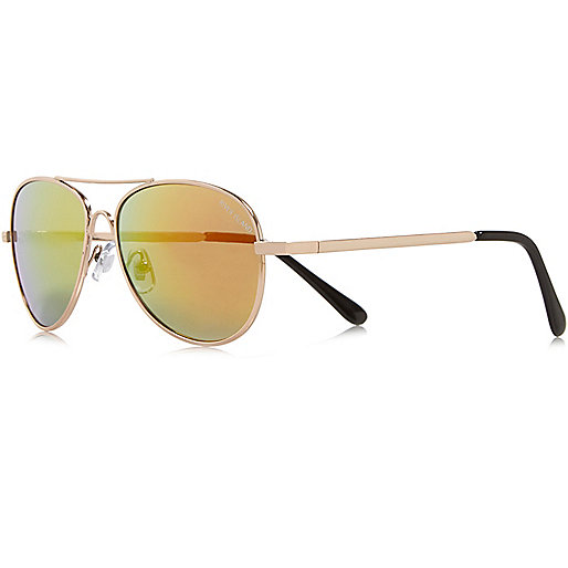 Boys gold tone pilot sunglasses