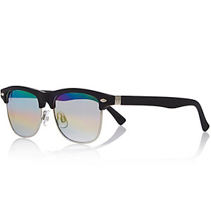 Boys black rainbow flat top sunglasses