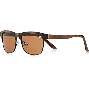 Boys brown metal flat top sunglasses