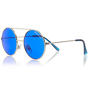Boys silver tone round sunglasses