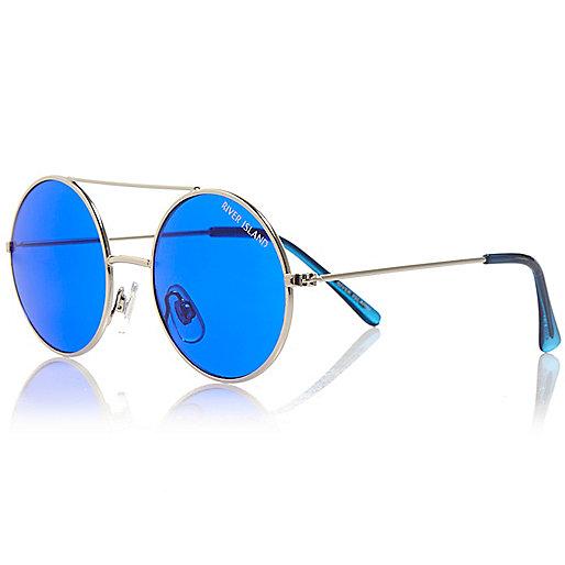 Silberne runde Sonnenbrille