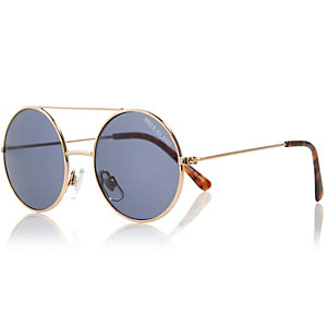 Boys gold tone round sunglasses