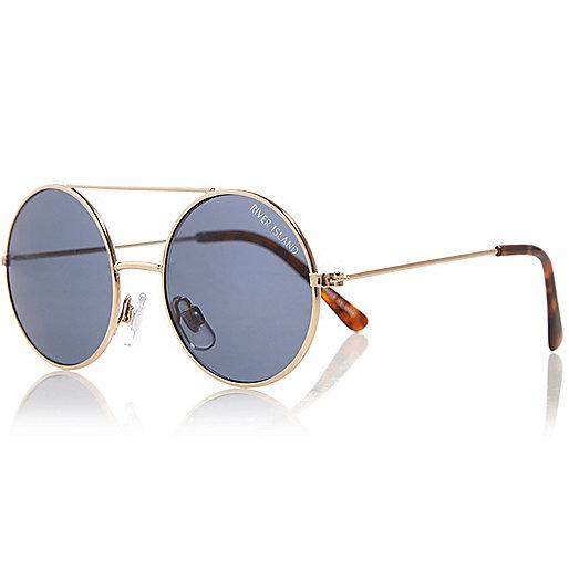 Boys gold tone round sunglasses