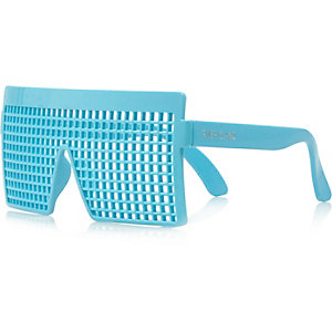 Boys turquoise grid novelty glasses