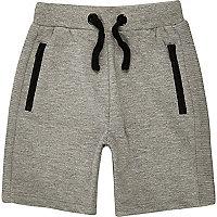 Mini boys grey ribbed shorts