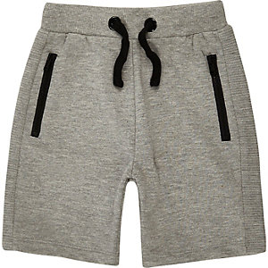 Mini boys grey ribbed shorts