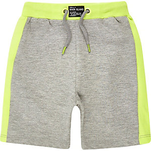 Mini boys grey lime shorts
