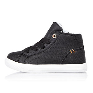 Mini boys black high top sneakers