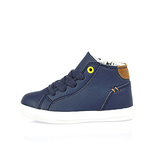 Mini boys navy hi tops