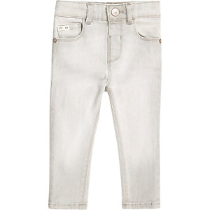 Mini boys light grey skinny jeans