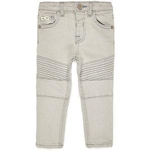 Mini boys light grey biker skinny jeans