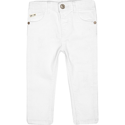 Mini boys white skinny jeans