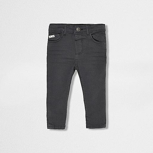 Mini boys dark grey skinny jeans