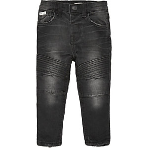 Mini boys black biker skinny jeans