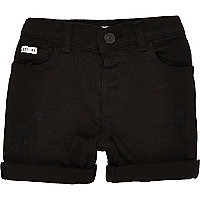 Mini boys black denim skinny shorts