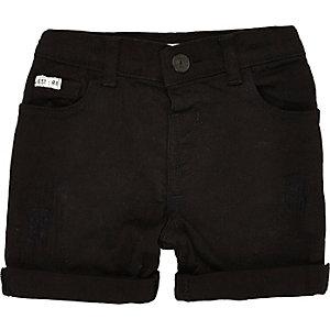 Mini boys black denim skinny shorts