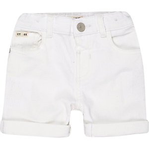 Mini boys white denim skinny shorts