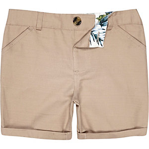 Mini boys stone linen-blend shorts