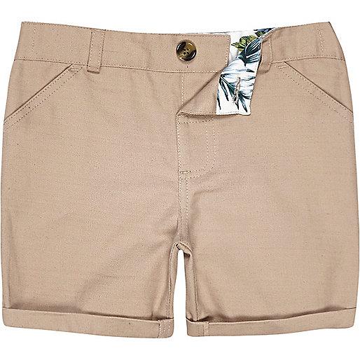 Mini boys tan linen-blend shorts