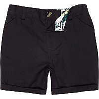 Mini boys navy linen-blend shorts