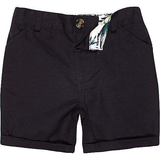 Mini boys navy linen-blend shorts