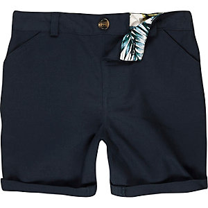 Mini boys dark blue linen-blend shorts