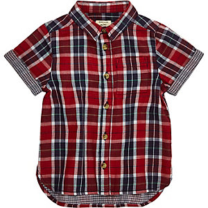 Mini boys red gingham shirt