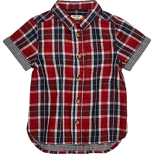 Mini boys red gingham shirt