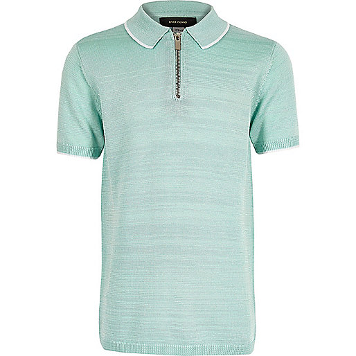 Boys light green knitted zip polo shirt