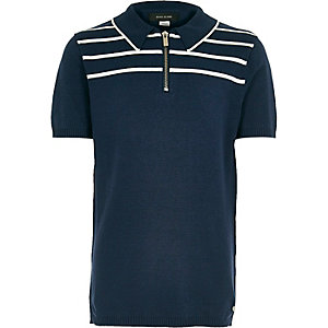 Boys navy stripe knitted zip polo shirt