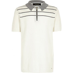 Boys white stripe knitted zip polo shirt