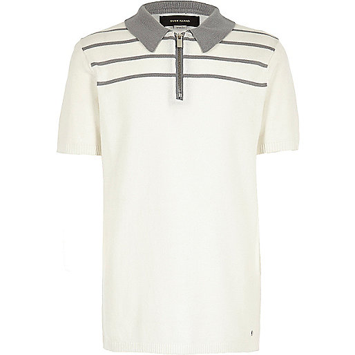 Boys white stripe knitted zip polo shirt
