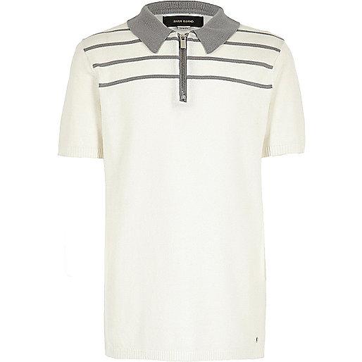 Polo en maille à rayures blanc zippé pour garçon